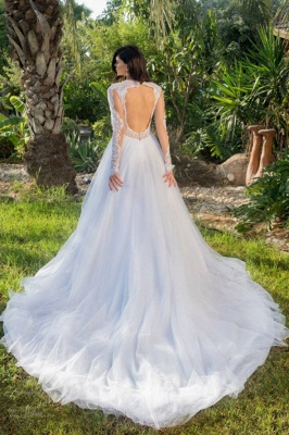 Long Sleeves Tulle Stylish A-line Lace-appliques Wedding Dress_3