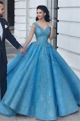 Puffy Lace V-Neck Evening Dresses | Sleeveless Blue Wedding Reception Dress_1