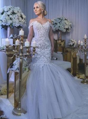 Glamorous Off-the-Shoulder Sweetheart Long Mermaid Lace Wedding Dress_1