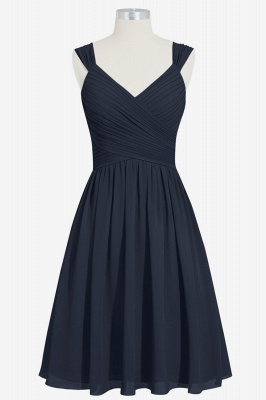 A-line Chiffon Ruffle Two Straps knee Length Bridesmaid Dresses_1