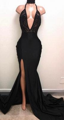 Halter V-neck Long Prom Dresses | Black Sleeves Slit Evening Gowns_1