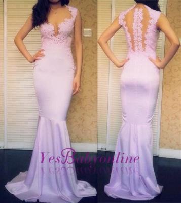 Appliques Sleeveless Popular Sweep-Train Mermaid Sexy Prom Dresses_1