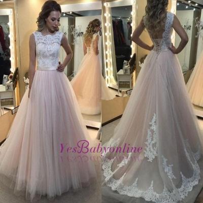 Lace-up Tulle Sleeveless Glamorous Lace A-Line Wedding Dress_1