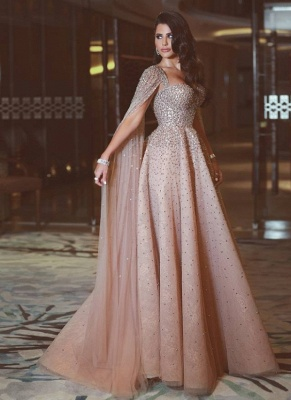 Luxury Champagne Prom Dresses Sweetheart Neckline Beading A-line Evening Gowns_1
