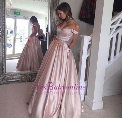 2019 Pearl Pink Prom Dresses Off-the-Shoulder Beading with Pockets Puffy Formal Gowns_1