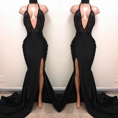 Halter V-neck Long Prom Dresses | Black Sleeves Slit Evening Gowns_3