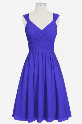 A-line Chiffon Ruffle Two Straps knee Length Bridesmaid Dresses_3