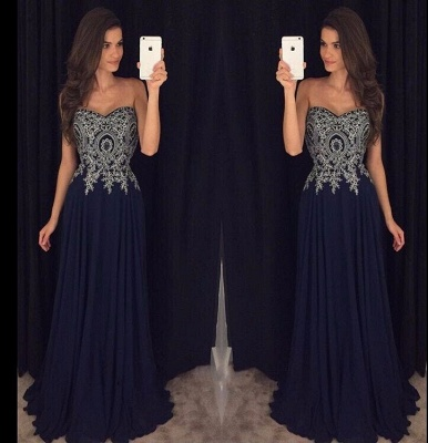 Navy-Blue Lace-Appliques Elegant Long  Prom Dresses_3