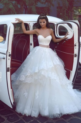 Glamorous  Ruffles Sweetheart Tulle Lace Appliques Wedding Dresses_1