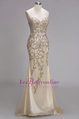 Luxury Crystals  Formal Beaded Backless Sweetheart Long Evening Gowns_4