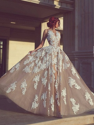 Tulle Appliques A-Line Elegant Sleeveless Wedding Dresses_2