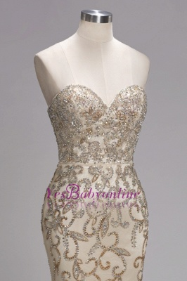 Luxury Crystals  Formal Beaded Backless Sweetheart Long Evening Gowns_5