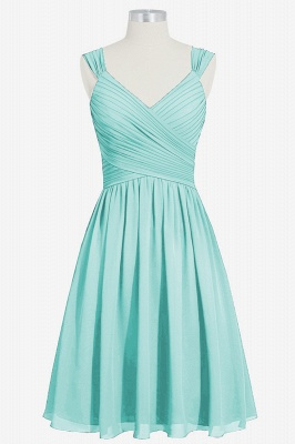 A-line Chiffon Ruffle Two Straps knee Length Bridesmaid Dresses_5