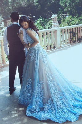 Luxury Blue Sleeveless 3D-Floral Appliques A-line Prom Dresses_2