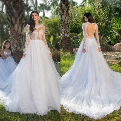Long Sleeves Tulle Stylish A-line Lace-appliques Wedding Dress_4