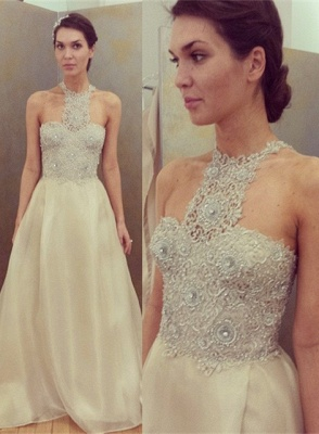 Cheap Sleeveless Designer Long Lace Appliques Beadings Glamorous Prom Dress_2
