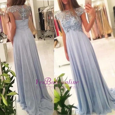 Cap-Sleeve Empired Long Sparkly Crystals Chiffon Blue Elegant Beading Prom Dresses_1