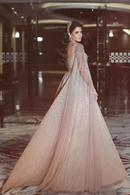 Luxury Champagne Prom Dresses Sweetheart Neckline Beading A-line Evening Gowns_2