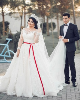 A-Line White Lace Tulle Long Long Sleevess Wedding Dresses_3