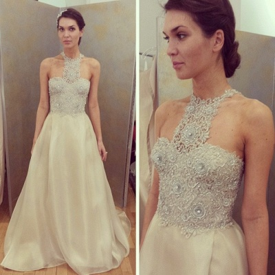 Cheap Sleeveless Designer Long Lace Appliques Beadings Glamorous Prom Dress_3