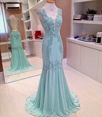 Appliques V-Neck Sleeveless  Mermaid Open-Back Elegant Prom Dress_3