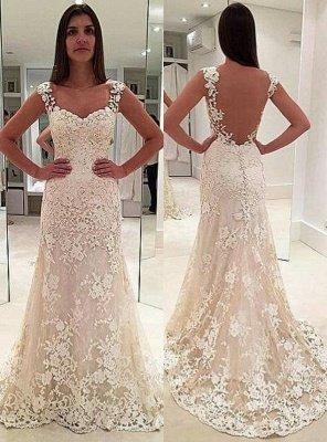 Glamorous Lace Straps Backless Sleeveless Mermaid  Wedding Dresses_2