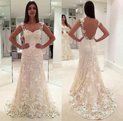 Glamorous Lace Straps Backless Sleeveless Mermaid  Wedding Dresses_3