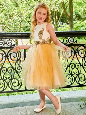 Cute A-Line Tulle Scoop Appliques Knee-Length Flower Girl Dress_1