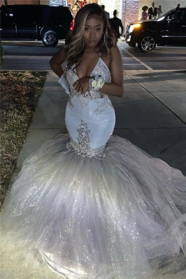 Spaghetti Straps Deep V-neck Silver Sequin Sexy Mermaid Prom Dress_3