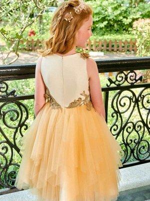 Cute A-Line Tulle Scoop Appliques Knee-Length Flower Girl Dress_3