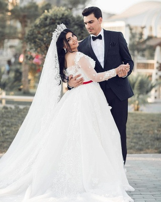 A-Line White Lace Tulle Long Long Sleevess Wedding Dresses_2