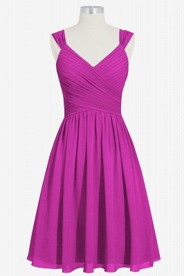 A-line Chiffon Ruffle Two Straps knee Length Bridesmaid Dresses_4