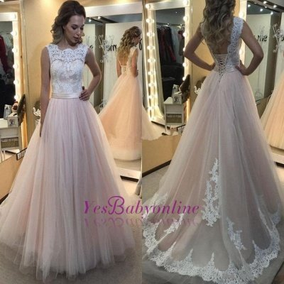 Lace-up Tulle Sleeveless Glamorous Lace A-Line Wedding Dress_1