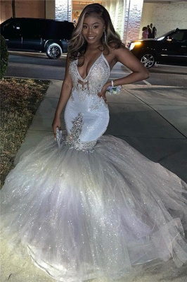 Spaghetti Straps Deep V-neck Silver Sequin Sexy Mermaid Prom Dress