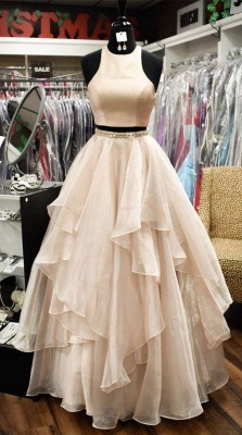 Chic Sleeveless Jewel A-Line Two-Pieces Tiered Prom Dresses_3