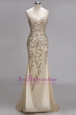 Luxury Crystals  Formal Beaded Backless Sweetheart Long Evening Gowns_2