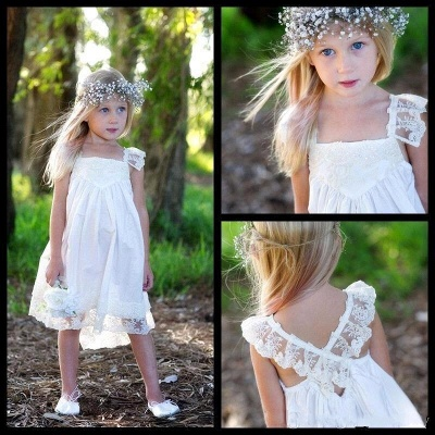 Capped-Sleeves Crisscross Back Cute Flower Girls Dresses_3