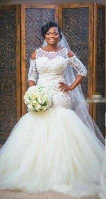 Newest Scoop Half-Sleeves Appliques Glamorous Tulle Mermaid Wedding Dress_2