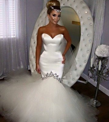 Classic Sweetheart Applique Fitted Mermaid Wedding Dresses | Fit And Flare Bridal Gown_3