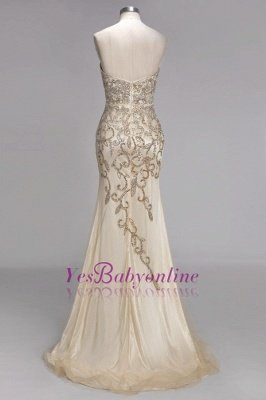 Luxury Crystals  Formal Beaded Backless Sweetheart Long Evening Gowns_3