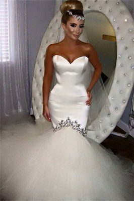 Classic Sweetheart Applique Fitted Mermaid Wedding Dresses | Fit And Flare Bridal Gown_1