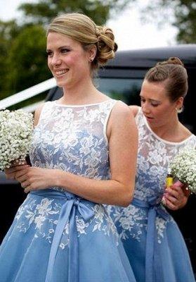 Scoop-neckline A-line Lace Tea-length Sashes Bridesmaid Dress_3