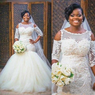 Newest Scoop Half-Sleeves Appliques Glamorous Tulle Mermaid Wedding Dress_4
