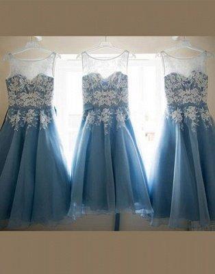 Scoop-neckline A-line Lace Tea-length Sashes Bridesmaid Dress_5
