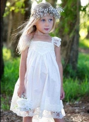 Capped-Sleeves Crisscross Back Cute Flower Girls Dresses_2