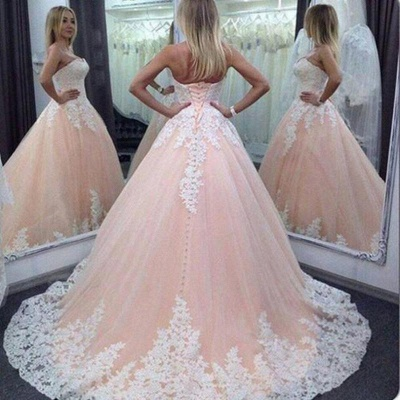 Pink Ball Gown Sweet 16 Dresses | Strapless White Appliques Quinceanera Dress_3