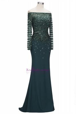 Sequins Mermaid Dark-Green off-the-Shoulder Long-Sleeves Evening Dress_2