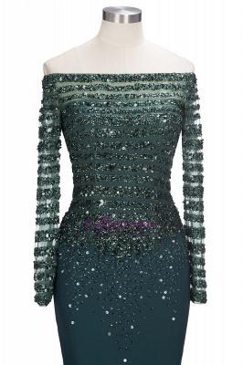 Sequins Mermaid Dark-Green off-the-Shoulder Long-Sleeves Evening Dress_4