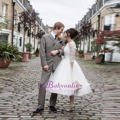 Charming Lace Designer Tulle Tea-Length Wedding Dress_1