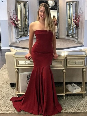 Strapless Mermaid-Prom-Dresses Sweep-Train Burgundy Long Evening Gowns_2